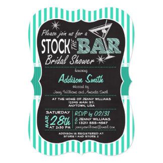 Stock the Bar Bridal Shower; Aqua Stripes 5x7 Paper Invitation Card