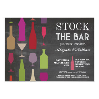 Stock The Bar Chalk Bottles Party Invitation