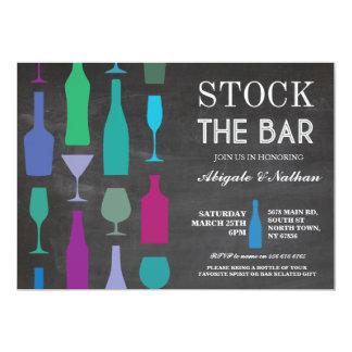 Stock The Bar Chalk Navy Bottles Party Invitation