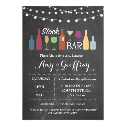 Stock The Bar Chalk Party Engagement Invitation | Zazzle