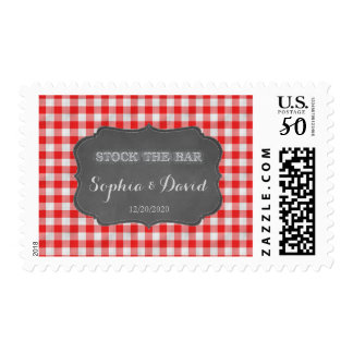 Stock the Bar Chalkboard Gingham Couples Shower Postage