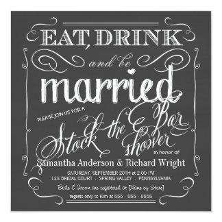 Stock the Bar Chalkboard Wedding Shower Invitation