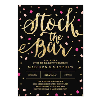 Stock the Bar Confetti Engagement Party Invitation