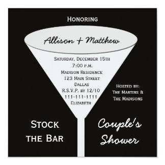 "Stock the Bar Couples Shower Invitation 5.25"" Square Invitation Card"