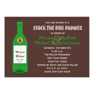 """Stock the Bar Couples Shower Invitation - Brown 5"""" X 7"""" Invitation Card"""