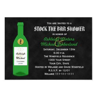"Stock the Bar Couples Shower Invitation Chalkboard 5"" X 7"" Invitation Card"