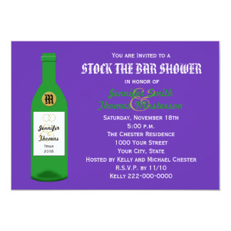 "Stock the Bar Couples Shower Invitation - Purple 5"" X 7"" Invitation Card"