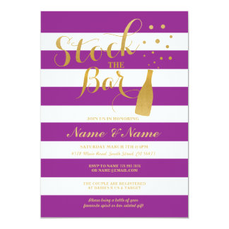 Stock The Bar Couples Shower Party Stripe Invite