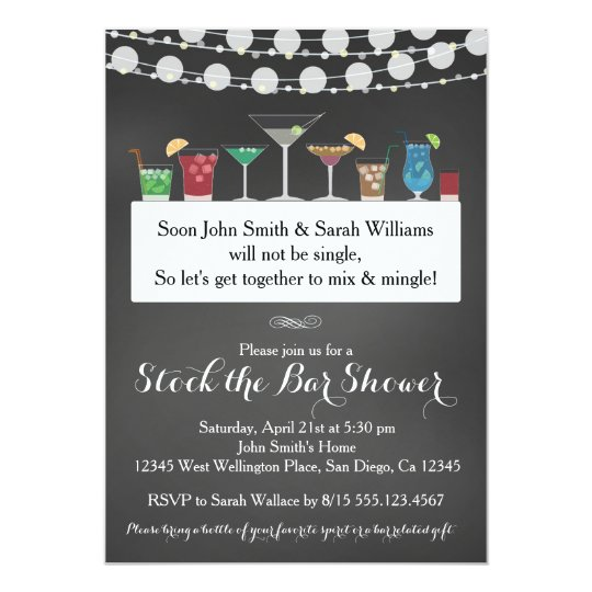 stock the bar couples wedding shower invitation