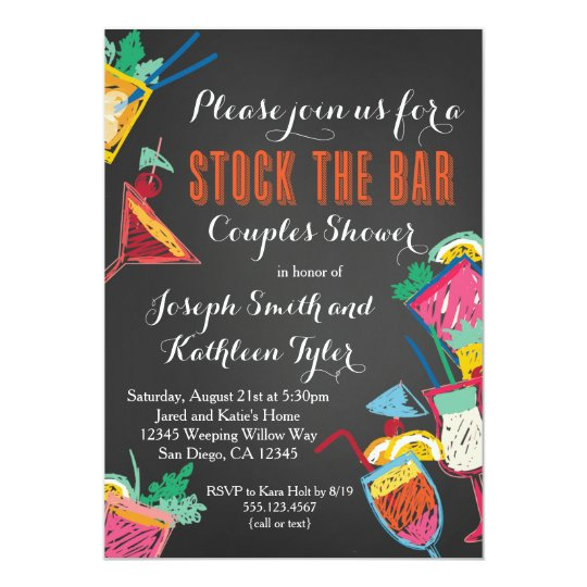Stock the Bar Couples Wedding Shower Invitation Zazzlecom