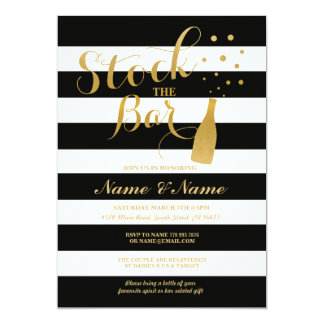 Stock The Bar Engagement Party Stripe Gold Invite