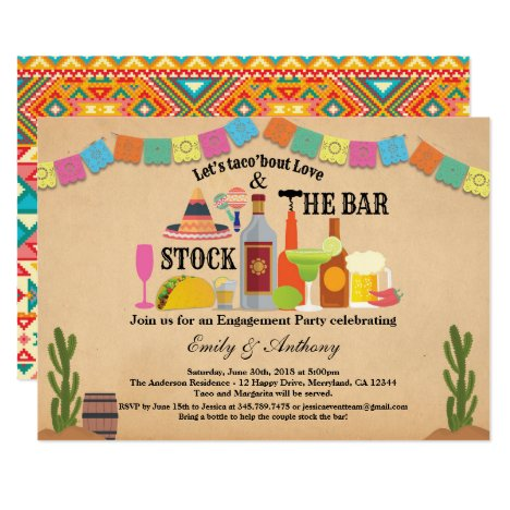 Stock the bar engagement party Taco Fiesta Invitation