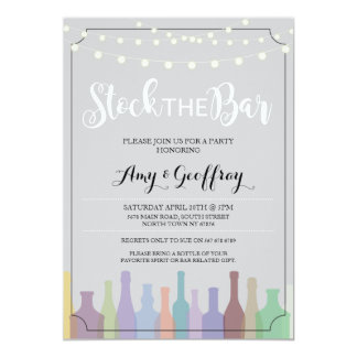 Stock The Bar Gray Party Engagement Couples Invite