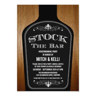 "Stock the Bar Housewarming Party Invitations 5"" X 7"" Invitation Card"