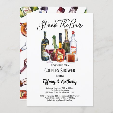 Stock The Bar Invitation Couples Shower