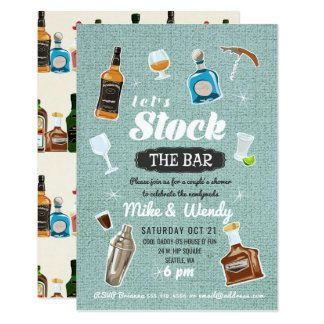 Stock the Bar Newlywed Couple's Shower Invitation