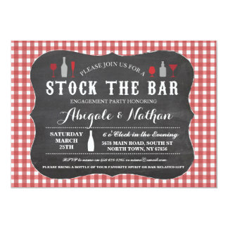 Stock The Bar Red Check Couples Shower Invitation