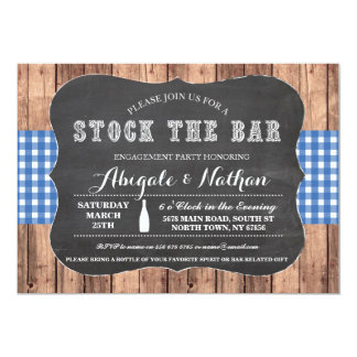 Stock The Bar Rustic Blue Engagement Invitation