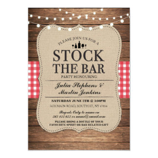 Stock The Bar Rustic Party Engagement Invitation