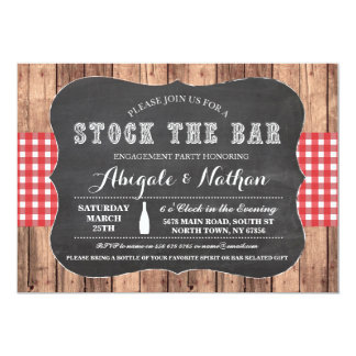 Stock The Bar Rustic Red Couples Shower Invitation