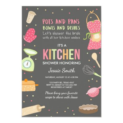 cooking utensils stock the kitchen bridal shower invitation zazzlecom