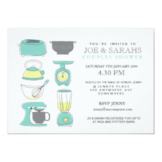 "Stock the Kitchen Couples Shower Party Invite 4.5"" X 6.25"" Invitation Card"