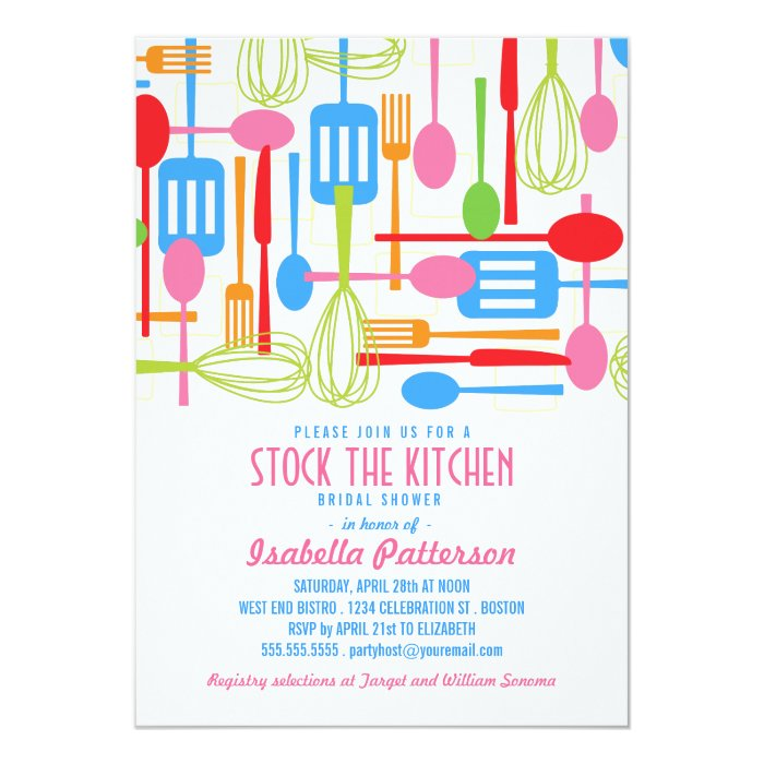 Stock the Kitchen Retro Style Bridal Shower Card   Zazzle