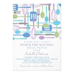 Stock the Kitchen Retro Style Bridal Shower Custom Invitations