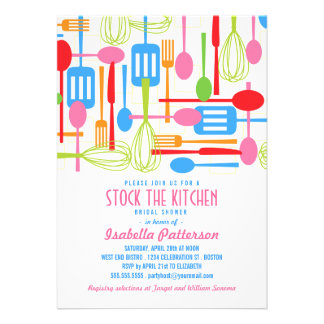 Stock the Kitchen Retro Style Bridal Shower Cards