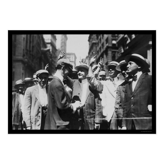 Stock Traders NYC Curb Market 1916 Poster