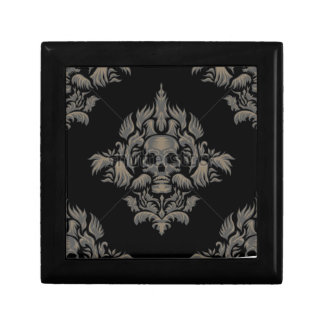 stock vector Victorian Gothic damask pattern Black Jewelry Box