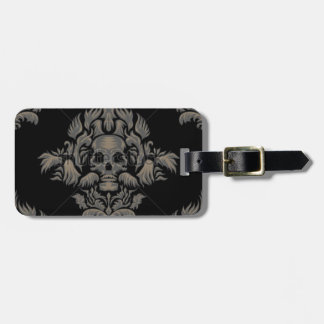 stock vector Victorian Gothic damask pattern Black Luggage Tag