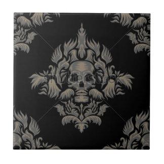 stock vector Victorian Gothic damask pattern Black Tile