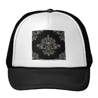 stock vector Victorian Gothic damask pattern Black Trucker Hat