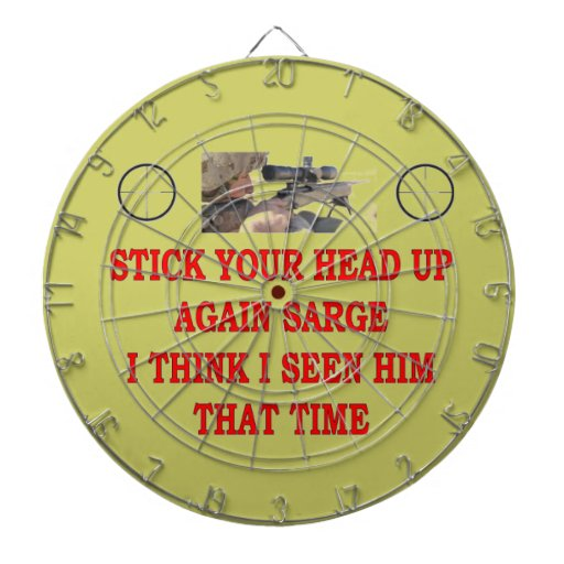 STOCK YOUR HEAD UP AGAIN SARGE DARTBOARD WITH DARTS