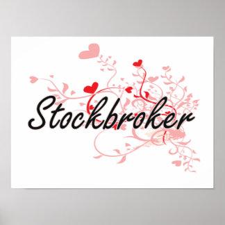 Stockbroker Artistic Job Design with Hearts Poster