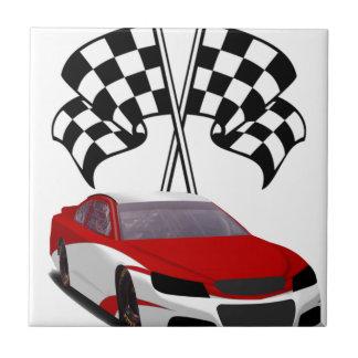 Stockcar Racing & Flags Ceramic Tile