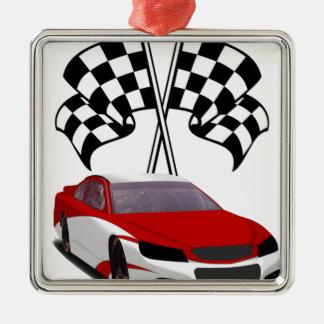Stockcar Racing & Flags Metal Ornament