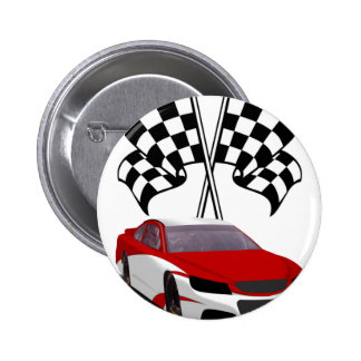 Stockcar Racing & Flags Pinback Button