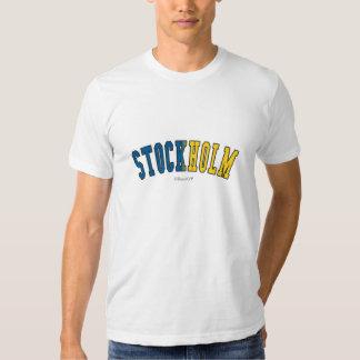 Stockholm in Sweden national flag colors T-shirt
