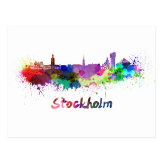 Stockholm skyline in watercolor postcard