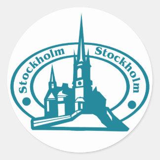 Stockholm Stamp Round Sticker