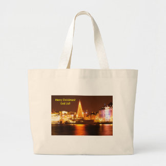 Stockholm, Sweden at Christmas at night Large Tote Bag