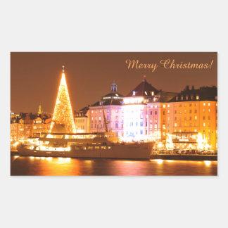 Stockholm, Sweden at Christmas at night Rectangular Sticker