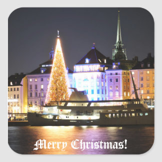 Stockholm, Sweden at Christmas at night Square Sticker