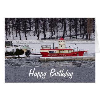Stockholm Sweden Lightship Biskopsudden Birthday Card