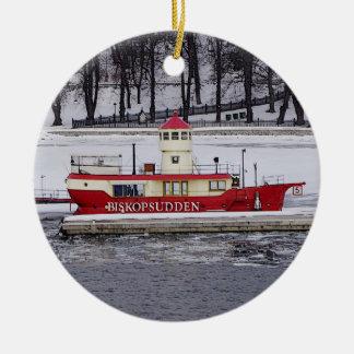 Stockholm Sweden Lightship Biskopsudden Birthday Ceramic Ornament