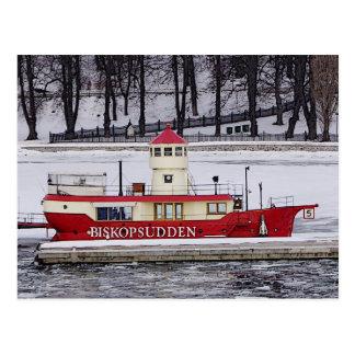 Stockholm Sweden Lightship Biskopsudden Closeup Postcard