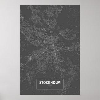 Stockholm, Sweden (white on black) Poster