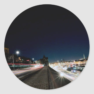 Stockholm Themed, Night Stockholm City View On Hig Classic Round Sticker